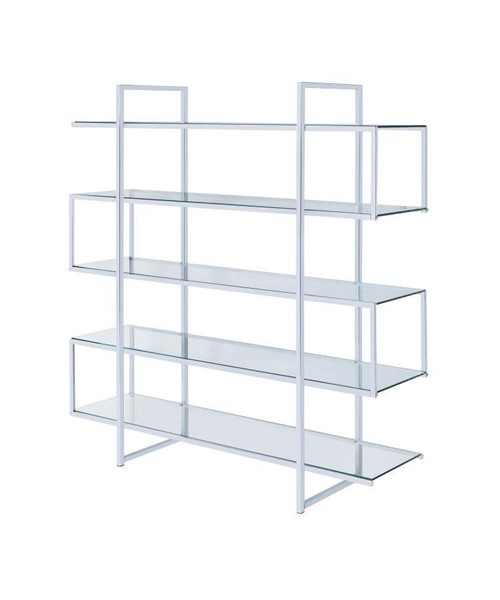 Coaster Furniture Clear Glass Metal Bookcase CST-801304