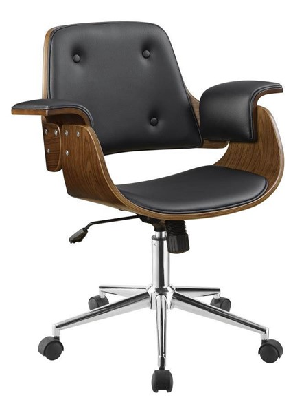 Coaster Furniture Black Faux Leather Wood Office Chair CST-801427