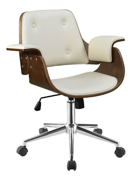 Coaster Furniture Ecru Walnut Faux Leather Wood Office Chair CST-801428