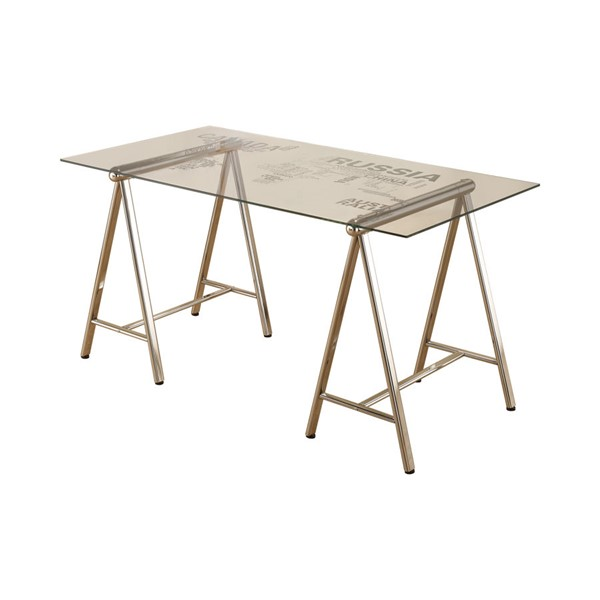 Coaster Furniture Nickel Glass Top Writing Desk CST-801504