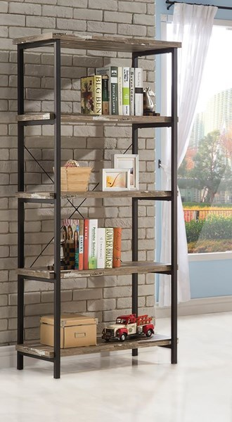 Skelton Brown Wood Metal Fixed Shelves Bookcase CST-801552