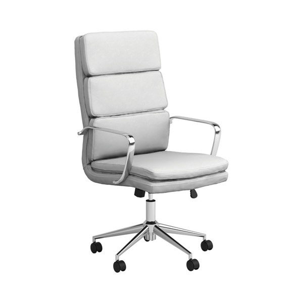 Coaster Furniture White Faux Leather High Back Office Chair CST-801746