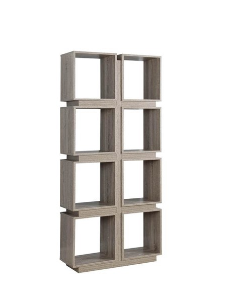 Coaster Furniture Weathered Taupe MDF 8 Shelves Bookcase CST-801845