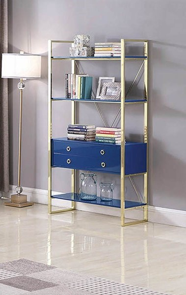 Coaster Furniture Odessa Glossy Blue Bookcase CST-802073