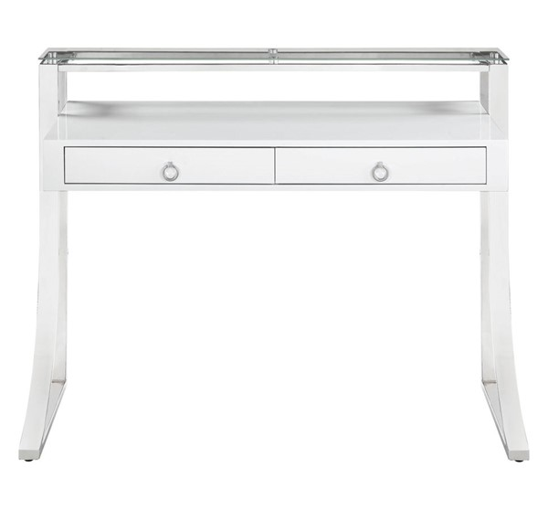 Coaster Furniture Glossy White Writing Desk CST-802141