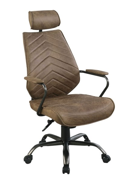 Coaster Furniture Antique Brown Grain Leather Headrest Office Chair CST-802182