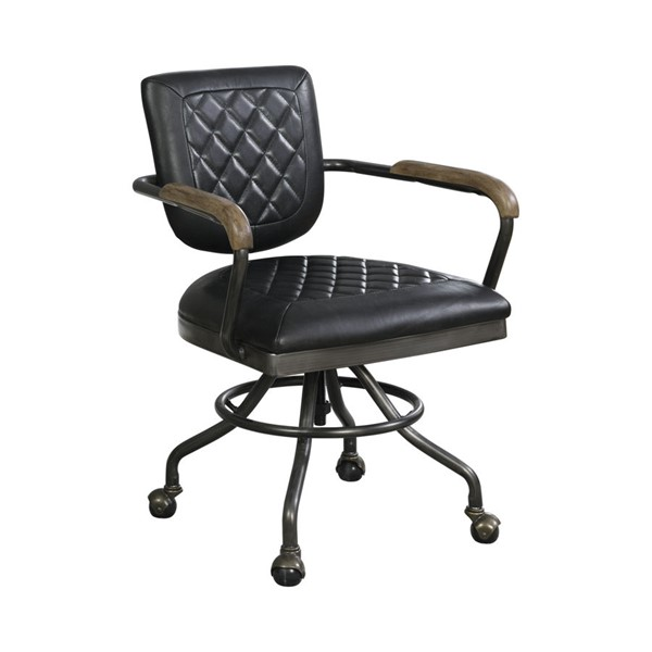 Coaster Furniture Antique Black Grain Leather Office Chair CST-802186