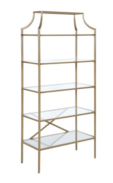 Coaster Furniture Gold Metal Clear Glass Bookcase CST-804393