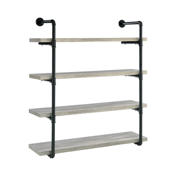 Coaster Furniture Grey Driftwood Black 40 Inch Wall Shelf CST-804427