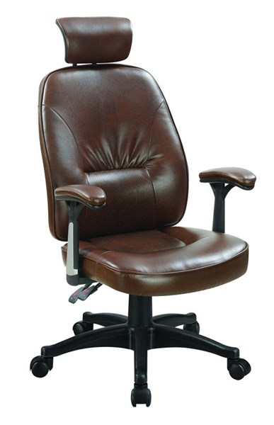 Coaster Furniture Brown Leatherette Black Frame Office Chair CST-881052