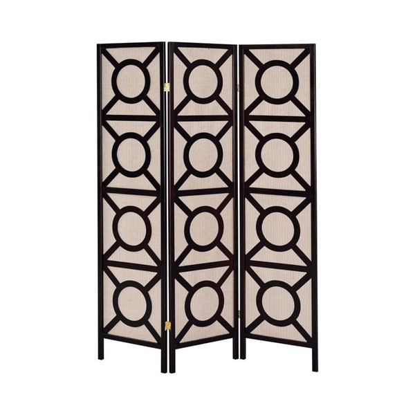Coaster Furniture Cappuccino Wood 3 Panel Folding Screen CST-900090