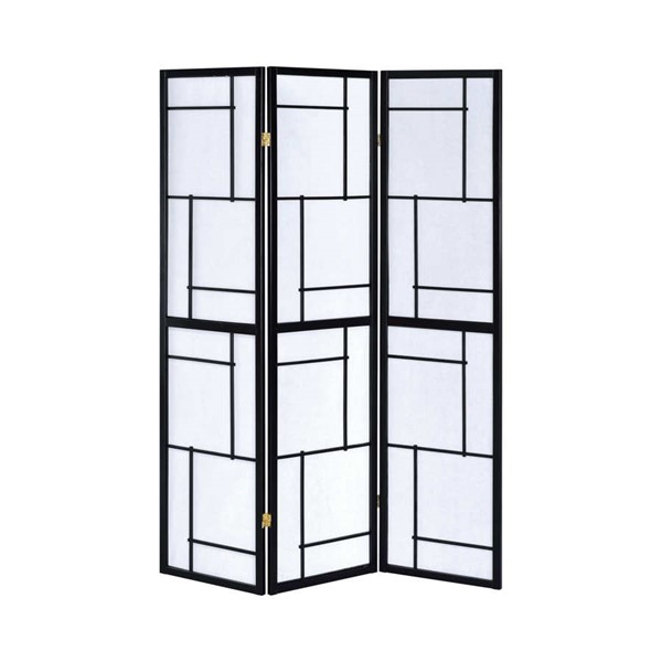 Coaster Furniture Black Wood 3 Panel Folding Screen Room Divider CST-900102