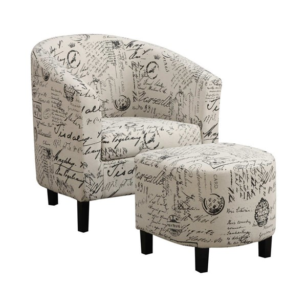 Coaster Furniture Off White Fabric Accent Chair with Ottoman CST-900210