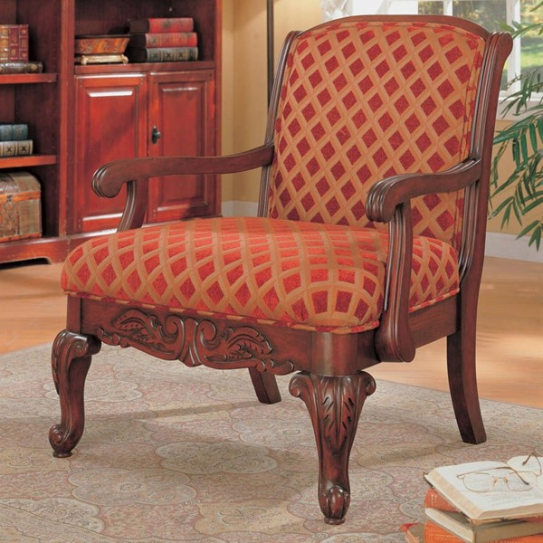 Traditional Red Gold Wood Fabric Queen Anne Legs Accent Chair CST-900222
