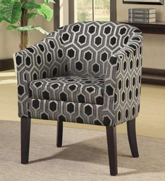Modern Grey Black Wood Fabric Accent Chair CST-900435