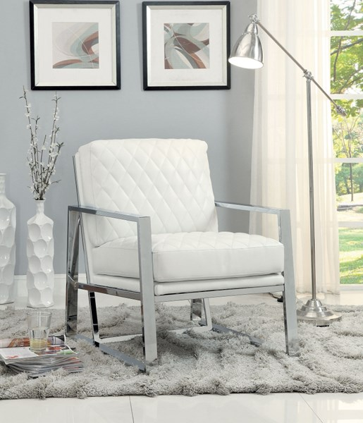 White Chrome Faux Leather Metal Accent Chair CST-900623