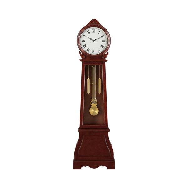 Coaster Furniture Brown Red Wood Grandfather Clock CST-900723