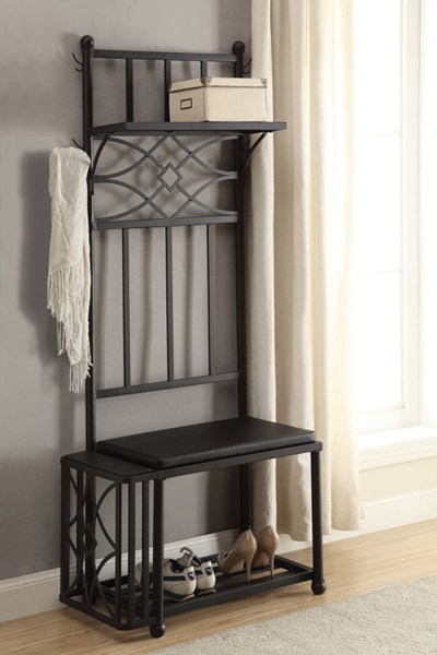 Black Wood Hall Tree w/Shelves For Storage CST-900915