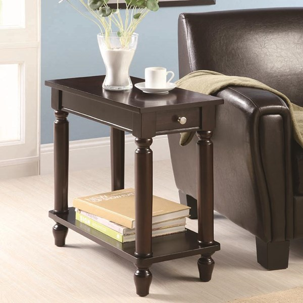 Cappuccino Wood Storage Rectangle Chairside Table CST-900972