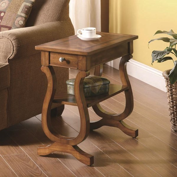 Warm Brown Wood Rectangle Chairside Table CST-900975