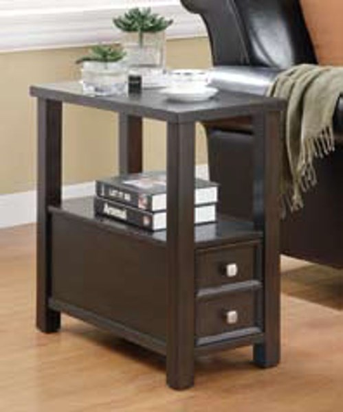 Cappuccino Wood Drawer Rectangle Chairside Table CST-900992