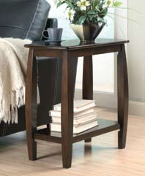 Walnut Wood Rectangle Chairside Table W/Shelves CST-900994