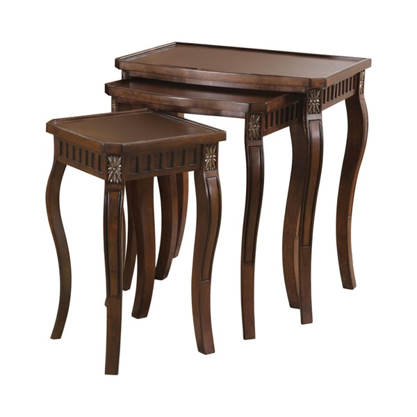 Coaster Furniture Warm Brown Wood 3pc Nesting Table Set CST-901076