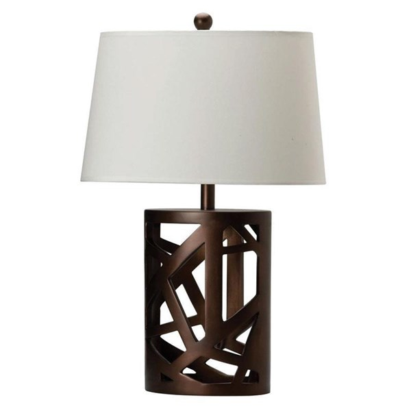 Transitional Brown White Table Lamp w/ Fabric Shade CST-901256