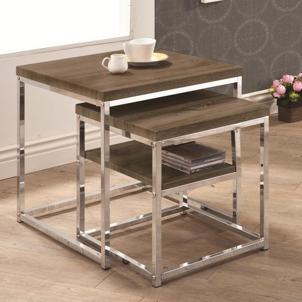 Contemporary Grey Metal Wood Nesting Table CST-901288