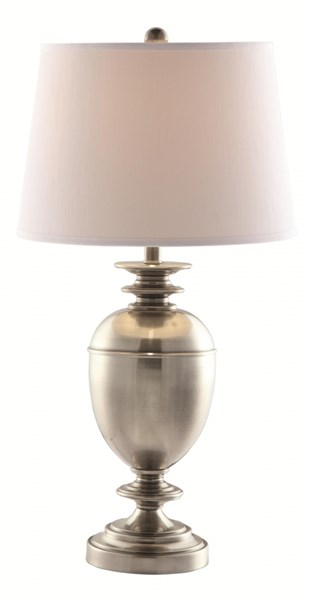 Transitional Silver White Ivory Fabric Table Lamp CST-901330