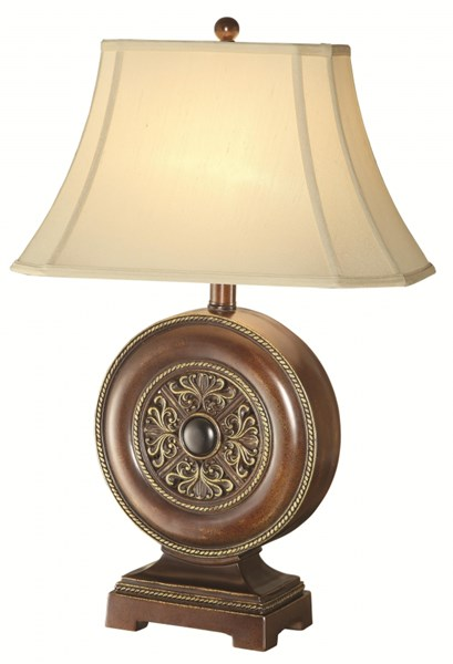Classic Gold Bronze Ivory Fabric Table Lamp CST-901334