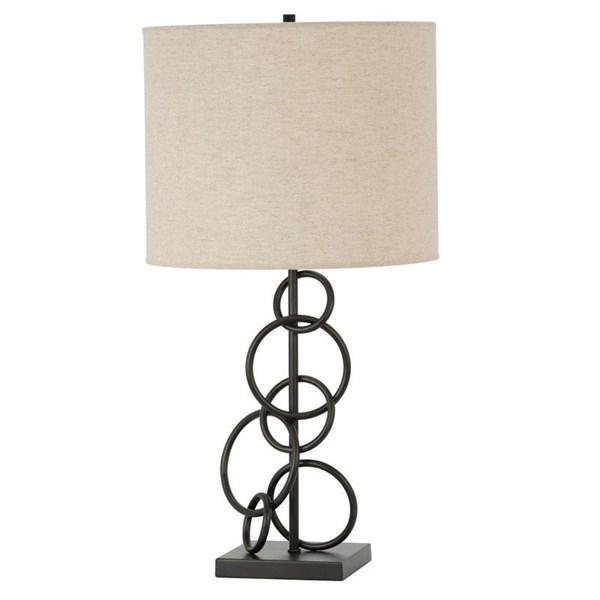 Contemporary Bronze Metal Beige Fabric Lightning Table Lamp CST-901404