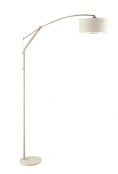 Contemporary Silver White Ivory Fabric Floor Lamp CST-901490