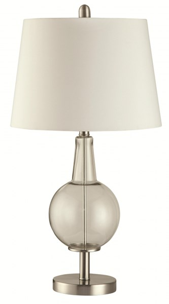 Transitional Silver White Ivory Glass Metal Fabric Table Lamp CST-901519