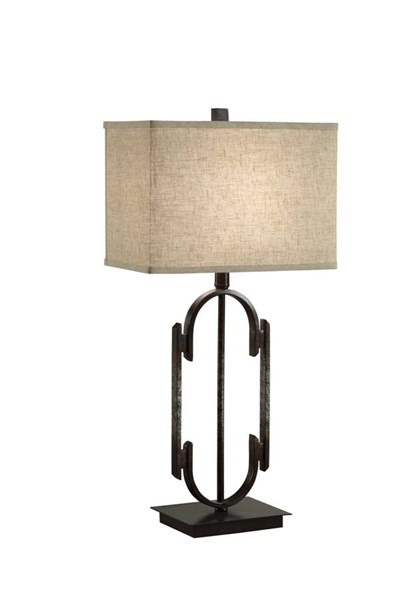 Traditional Bronze Silver Fabric Table Lamp CST-901534