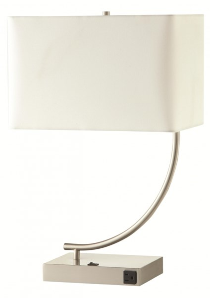 2 Contemporary Silver Ivory Gray Fabric Table Lamps CST-901537-38-VAR