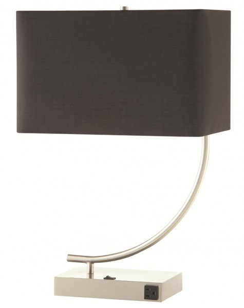 2 Contemporary Satin Nickel Black Table Lamps CST-901538