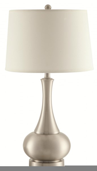 2 Contemporary White Silver Ivory Fabric Table Lamps CST-901545