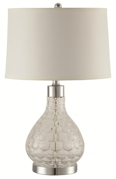 2 Transitional Chrome Glass Metal Table Lamps CST-901547