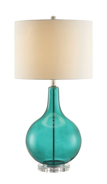 Teal Chrome Glass Lamp CST-901554