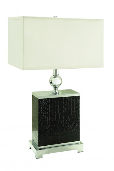 2 Black Silver Table Lamps w/Double Lined Edge CST-901571