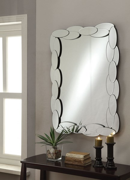 Rectangle Beveled Glass Wall Mirror w/Small Oval Shape Framed CST-901584