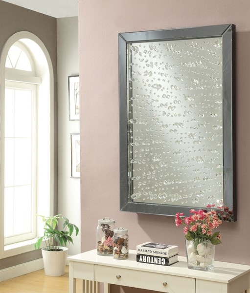 Black Wall Mirror w/Under A Layer Of Rain Droplets CST-901590