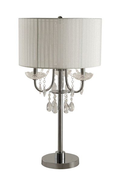2 Table Lamps w/Crystals Draped Around Chrome Base CST-901668