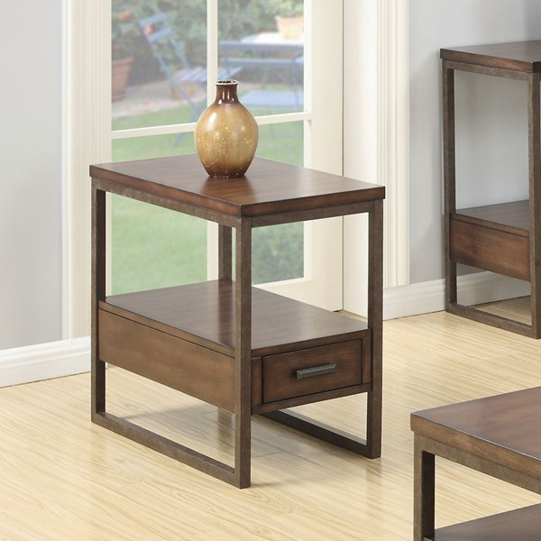 Brown Wood Lower Shelf & Storage Drawers Chair Side Table CST-901680