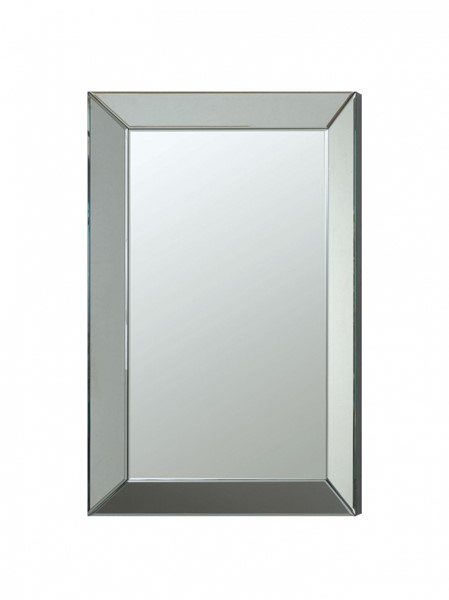Contemporary Silver Accent Frameless Beveled Mirror CST-901783