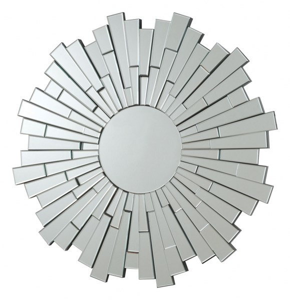 Contemporary Silver Glass Frameless Round Mirror CST-901784