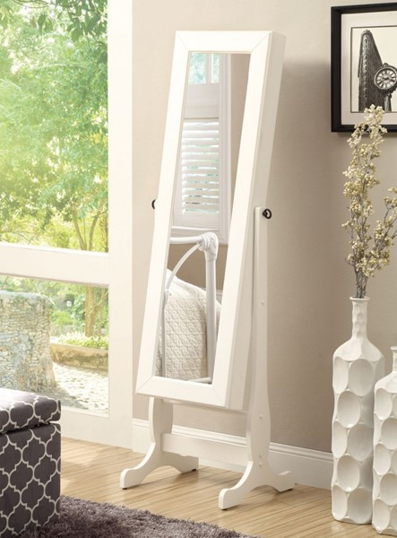 Casual White Wood Glass Cheval Mirror W/Frame CST-901804-V