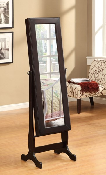 Casual Cappuccino Wood Glass Cheval Mirror CST-901805