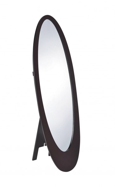 Transitional Cappuccino Wood Oval Shaped Floor Mirror CST-901846